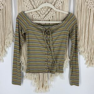 American Eagle Striped Lace Up Long Sleeve Top